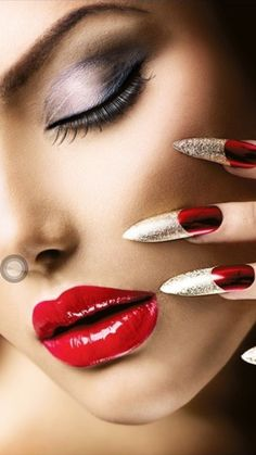 ECBASKET Golden Metallic Nail Art False Nails Tips Sharp Ending Stiletto With Box -- More info could be found at the image url. Red Stiletto Nails, Red Nails, Perfect Red Lips, Metallic Nails, Christmas Nail Art Designs, Beautiful Lips, Stunning Eyes, Nail Accessories, Glossy Lips