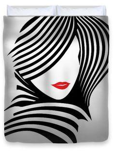 Rafael Salazar Duvet Covers - Woman Chic in Black and White Duvet Cover by Rafael Salazar Doodle Art Drawing, Art Drawings, Mini Canvas Art, Modern Art Paintings, Fashion Wall Art, Silhouette Art, Arte Pop, Beauty Art, Fabric Painting