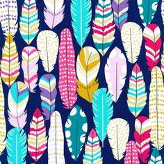 dark indigo fabric colorful feather gold metallic by Michael Miller USA Tissu Michael Miller, Michael Miller Fabric, Des Accents D'or, Miller Homes, Colorful Feathers, Blue Feathers, Thing 1, Kawaii Shop, Fabulous Fabrics