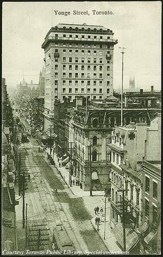 Yonge Street, Toronto, Ontario, Canada    Creator: W.G. MacFarlane (Publisher)  Date: 1910 Traders Bank in the background.
