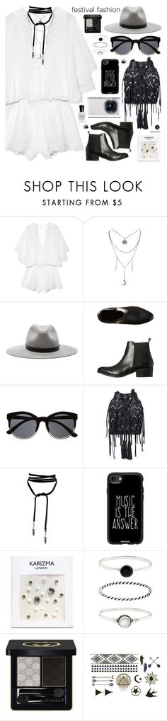 """Good Vibes Only: Festival Fashion"" by palmtreesandpompoms ❤ liked on Polyvore featuring Eberjey, rag & bone, Windsor Smith, Witchery, Ash, Casetify, Accessorize, Gucci, Full Tilt and Deborah Lippmann"