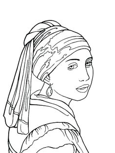 famous paintings coloring pages Paintings Famous, Famous Artwork, Famous Artists, Girl With Pearl Earring, Coloring Pages, Arte Peculiar, Art Brut, Silhouette Art, Mosaic Art