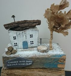 WINTER COTTAGE Handcrafted Rustic Driftwood Dwelling