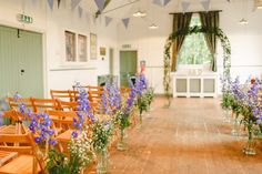 Flowers Aisle Ceremony Pew End Chairs Blue White Large Charming Floral Filled Wedding http://www.francessales.co.uk/