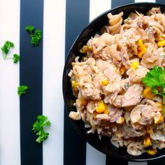 15-Minute Corn & Tuna Pasta Recipe Lunch, Main Dishes with whole grain pasta, tuna, corn, soy yogurt, olive oil, salt, fresh parsley
