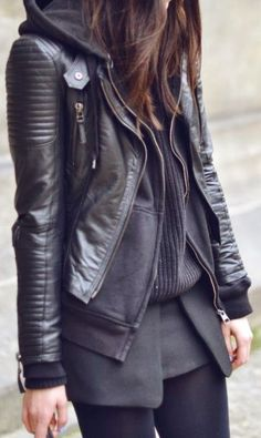 Black fall fashion trend with hood and leather jacket