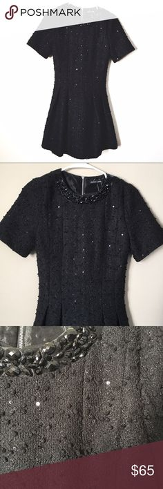 NWT Sister Jane dress Black textured dress with sequins throughout and a jeweled collar. Zipper in the back. So pretty! No size but I would recommend for a small. Measurements upon request ASOS Dresses