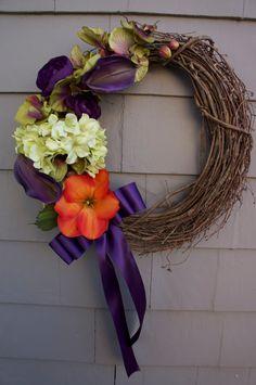Spring Summer Grapevine wreath door decoration   by UrbanTwigs, $75.00