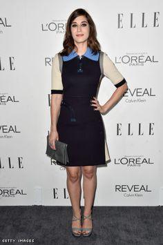 Lizzy Caplan in a Calvin Klein dress