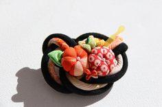 Handmade Japanese Kanzashi style brooch made from vintage kimono fabric Japanese Things, Kimono Fabric, Vintage Kimono, Hair Ornaments, Raspberry, Brooch, Treats, Handmade, Accessories