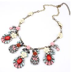 Fashion necklace,  with #Crystal & Resin, red and pink.