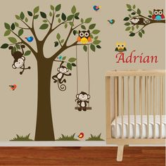 Nursery wall decal monkey tree branch with by wallartdesign, $150.00