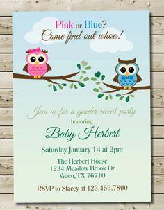 Custom Printable Owl Theme Gender Reveal Invitation 5x7 or 4x6 Owl Gender Reveal Baby Shower Invitation