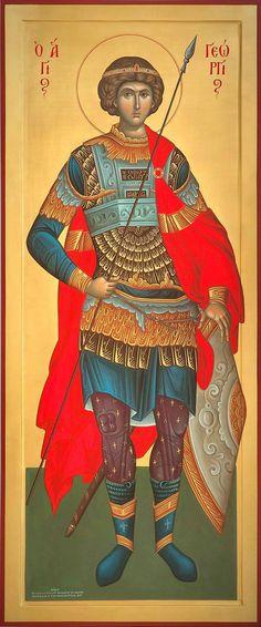 Άγιος Γεώργιος / Saint George Byzantine Icons, Byzantine Art, Religious Icons, Religious Art, Saints And Soldiers, Saint Gabriel, Greek Warrior, Religious Paintings, Art Icon