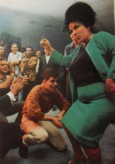 1960s Heavyset Woman Bouffant Hair Dancing Party Men Smoking Vintage Photo