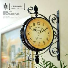 details about antique double sided wall clock garden hallway outdoor station mount clock j