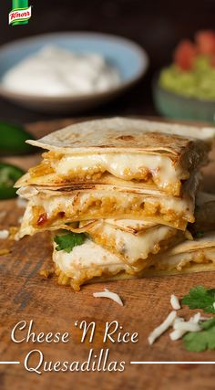 These Cheese 'N Rice Quesadillas are a meatless solution to satisfy your every craving. 1. Bring spread, Knorr® Fiesta Sides™ - Mexican Rice and chilies to a boil. Cook until rice is tender. 2. Place tortillas on baking sheet. Top tortillas w/ rice mixture, cheese and another tortilla. 3. Broil until tortillas are lightly toasted and cheese is melted, turning once.