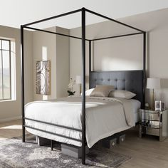 c25c4e6257d Baxton Studio Eleanor Vintage Industrial Black Finished Metal Canopy Queen  Bed - TS-Eleanor-