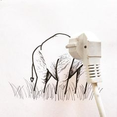 Cable Elephant by artist Kristián Mensa Object Photography, Surrealism Photography, Creative Photography, I Love You Drawings, Cute Cartoon Drawings, Tableaux Vivants, Art Beat, Object Drawing, Graffiti Painting