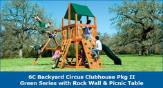 6C Backyard Circus Clubhouse Pkg II Green Series with Rock Wall & Picnic Table #swingsets #rainbowplay #rainbowplaysystem #rainbowplaysystems