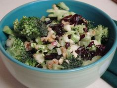 Broccoli Cran-Apple Salad - A delicious salad full of crunch and sweetness. Substitute mayo with plain greek yogurt