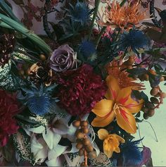 Editorial-worthy Brrch Floral arrangement with some unexpected color combinations .