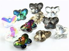 10-X-CRYSTAL-GLASS-FACETED-BUTTERFLY-PENDANT-CHARM-14mm-x-11mm-COLOUR-CHOICE