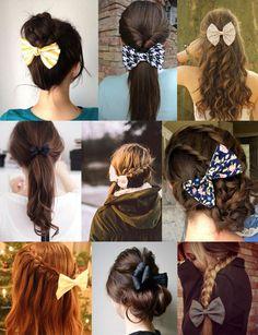 Laço no cabelo: 27 inspirações para você mudar o penteado! Scarf Hairstyles, Cool Hairstyles, College Hairstyles, Long To Short Hair, Flower Hair Accessories, Dream Hair, How To Make Hair, Pin Up, Hair Dos