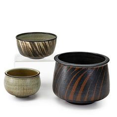 "HARRISON McINTOSH (b.1914)Three glazed stoneware bowls, Claremont, CA; All with chopmark and paper labels; Largest: 5 1/2"" x 7"""