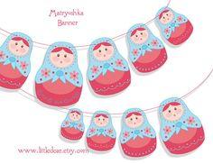 Printable Matryoshka nesting dolls Banner PDF