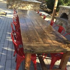 "Table top: Traditional Farmhouse Table in ""faux barn wood"" by Ruff Wood Design Company Farmhouse Table Plans, Farmhouse Chic, Farmhouse Ideas, Farmhouse Design, Country Farmhouse, Mesa Exterior, Outdoor Dining, Outdoor Decor, Outdoor Farmhouse Table"
