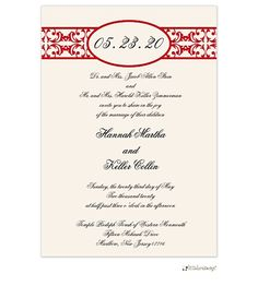 Red on ivory wedding invite