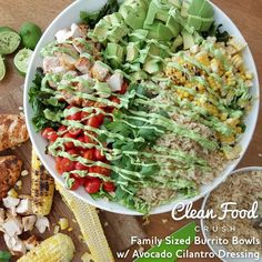 I made these Family Sized Burrito Bowls to celebrate National Guacamole Day #GuacamoleHoliday Chopped crisp red leaf lettuce Brown rice Local corn (grilled) Organic grape tomatoes (chopped) Avocado (diced) Grilled lime Cumin Grilled Chicken Cilantro Avocado Cilantro Dressing: Makes 4-6...