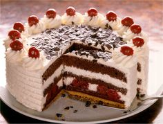 takes two days to make - traditional German Black Forest cake Chocolate Cherry Cake, Chocolate Ice Cream, Sweet Recipes, Cake Recipes, German Cake, Cake Decorating For Beginners, Nutella Cake, Torte Cake, Black Forest Cake