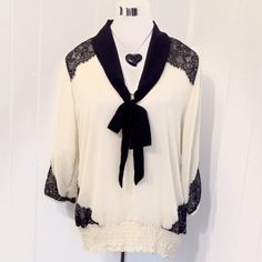 •Maurices• Black & Cream Lacy Blouse Large New with tags. Large Maurices Tops Blouses