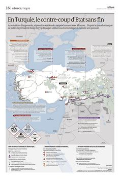 Purges et répression, la Turquie d'Erdogan. Carte parue dans Le Monde de dimanche 11 décembre. Georgie, Bagdad, Personal Portfolio, Me On A Map, History, Maps, Travel, Bulgaria, Romania