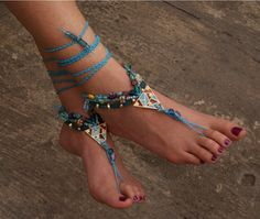 Crochet Barefoot Sandals  beach jewelry  Bohemian by Dimicreativa, $19.00