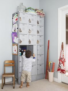 Vintage school lockers are a unique and fun way to stay organized #hgtvmagazine http://www.hgtv.com/decorating-basics/a-farmhouse-filled-with-unique-projects/pictures/page-31.html?soc=pinterest