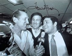 Tom Flores Signed Autographed 11X14 Photo Raiders Locker Room Interview GV793519