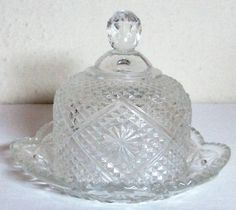 Vintage 1973 AVON Glass Domed Covered Round Butter/Cheese Dish Butter Cheese, Glass Bowls, Cheese Dishes, Serving Platters, Avon, Stoneware, Kitchen, Stuff To Buy, Life