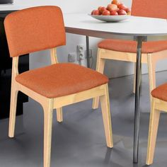 Buy Adeco Trading CH0197-1 Bentwood Dining Chair with Orange Linen Back Support…