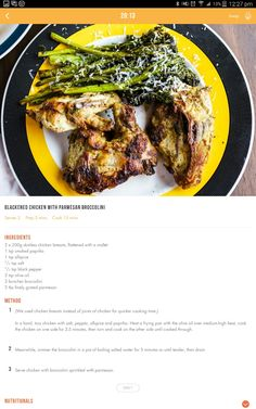 Blackened chicken with parmesan broccolini Diet Recipes, Cooking Recipes, Healthy Recipes, 28 By Sam Wood, Michelle Bridges, Blackened Chicken, Clean Eating, Healthy Eating, Pre Pregnancy