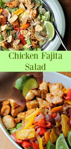 CHICKEN FAJITA SALAD - everything you love about chicken fajitas, transformed into a hearty salad.