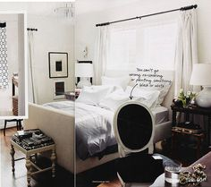 Domino Magazine: Bed in front of window, white slipcovered bed, bench, louis chair, white silk drapes, ...