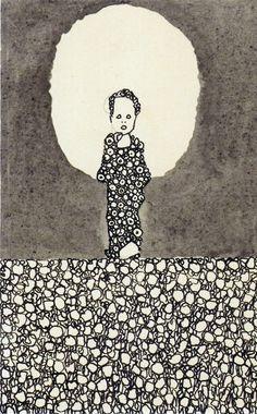 Niño con nimbo en un campo de flores, Egon Schiele