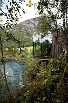 Juvet Landscape Hotel / Jensen & Skodvin Architects Architect Unknown<br> Completed in 2008 in Norddal, Norway. One of the local residents at Gudbrandsjuvet, Knut Slinning, is building a landscape hotel. The idea emerged at another site, Aurland, but was not...