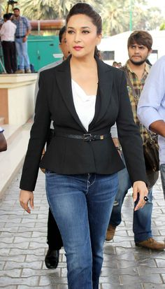Madhuri Dixit looks stylish in black and white as she arrived on the sets of dance reality show. Bollywood Stars, Bollywood Fashion, Bollywood Actress, Bollywood News, Most Beautiful Indian Actress, Beautiful Actresses, Madhuri Dixit Saree, Sabyasachi, Casual Outfits