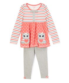 Another great find on #zulily! Orange & Blue Owl Tunic & Leggings - Infant, Toddler & Girls by Nannette #zulilyfinds