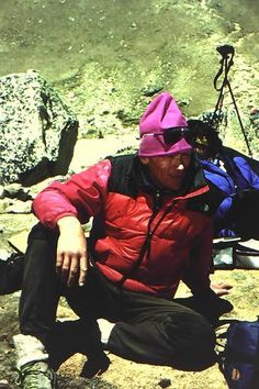 I took this photo of Anatoli Boukreev on our trek in to Everest Base Camp 1996 Rob Hall, Greater Good, Mountaineering, Climbers, Bergen, Tibet, Madness, Riding Helmets, Innovation