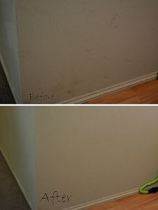 How to clean walls with flat paint. It's as easy as using a Mr. Clean Magic Eraser sponge--need this on ceilings that have flat paint